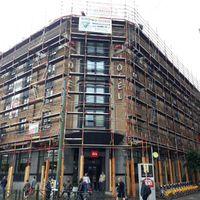 Echafaudage pour la réparation de la toiture de l'Hôtel IBIS av. Fonsny à Saint Gilles